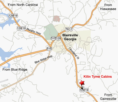 Kilin Tyme Cabins location map